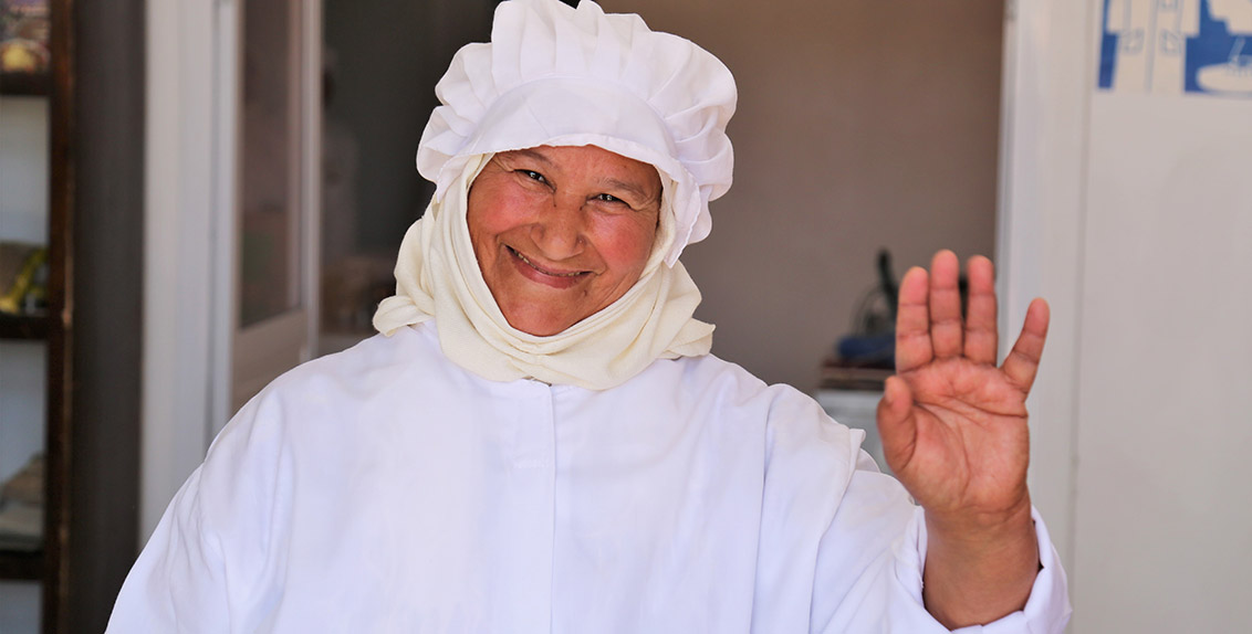Mrs. Kenza Laghchaoud, a cooperative member in her late 60s, is an expert in preparing couscous. She says that their profits have increased significantly since they began adding quinoa to their products.